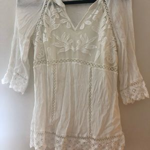 PALE SLY floral lace top -Ivory